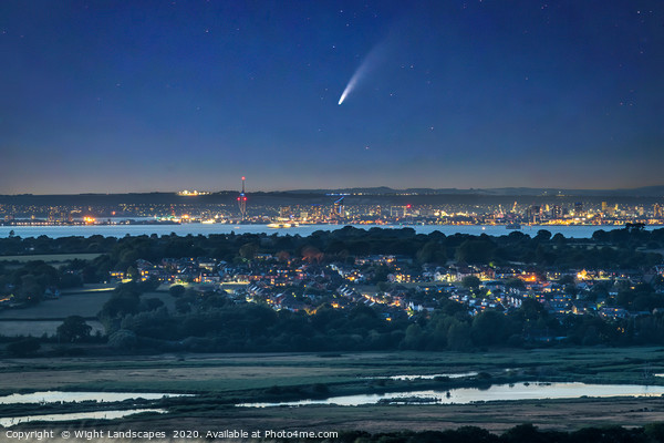 Neowise Comet Over Portsmouth Canvas Print by Wight Landscapes