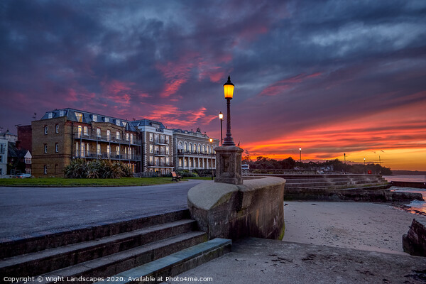 Ryde Western Gardens Sunset Print by Wight Landscapes