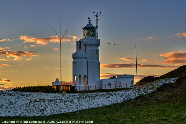 St Catherines Lighthouse Sunset Print by Wight Landscapes