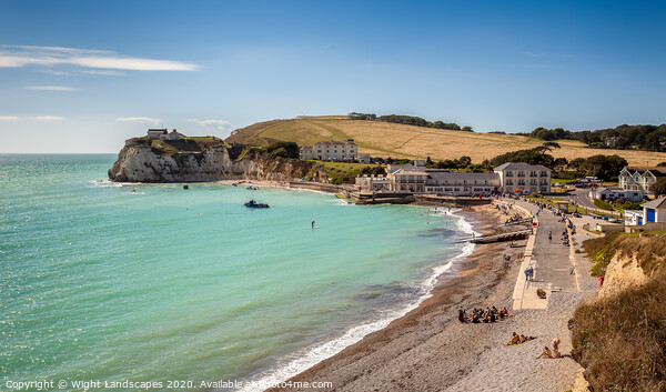 Summer At Freshwater Bay Framed Print by Wight Landscapes