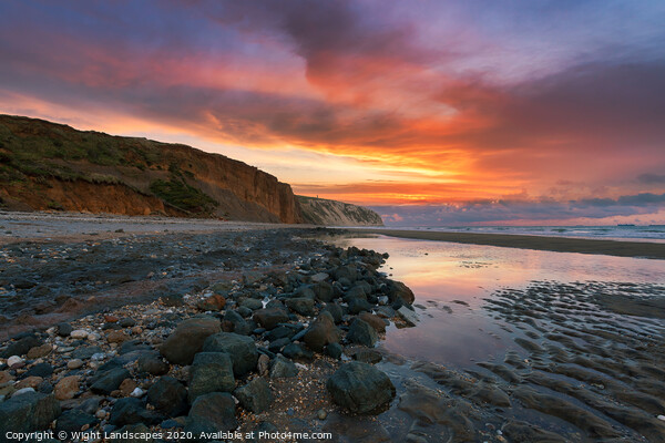 Dawn At Sandown Beach Yaverland Framed Print by Wight Landscapes
