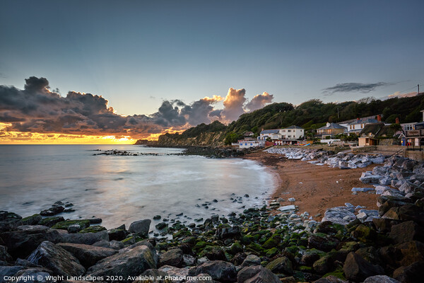 Steephill Cove Sunset Framed Print by Wight Landscapes