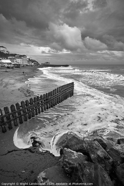 Ventnor Beach BW Isle Of Wight Framed Print by Wight Landscapes