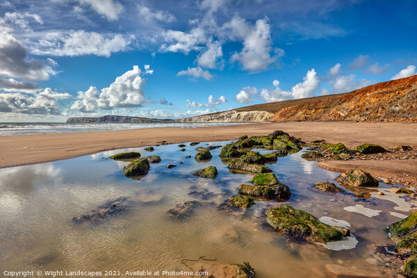 Compton Beach Rock Pools Canvas Print by Wight Landscapes