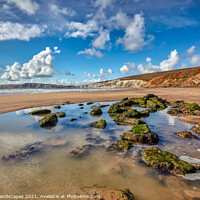 Buy canvas prints of Compton Beach Rock Pools by Wight Landscapes