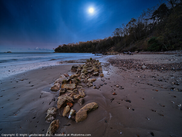 Priory Bay In The Moonlight Canvas Print by Wight Landscapes