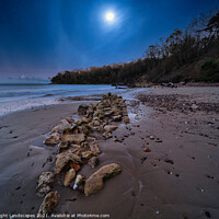 Buy canvas prints of Priory Bay In The Moonlight by Wight Landscapes