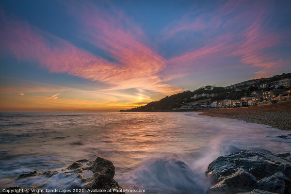 Ventnor Beach Sunset Isle Of Wight Canvas Print by Wight Landscapes