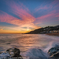 Buy canvas prints of Ventnor Beach Sunset Isle Of Wight by Wight Landscapes