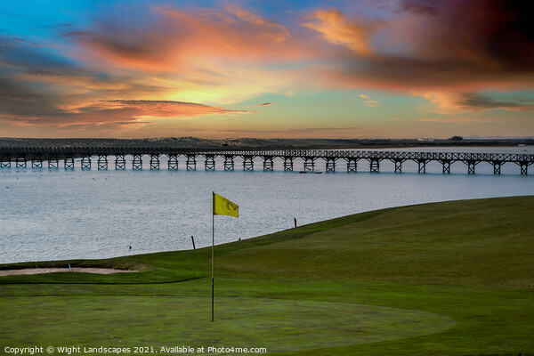Quinta do Lago Golf The Wooden Bridge Sunset Canvas Print by Wight Landscapes