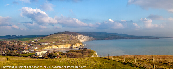 Looking Down On Freshwater Bay Canvas Print by Wight Landscapes