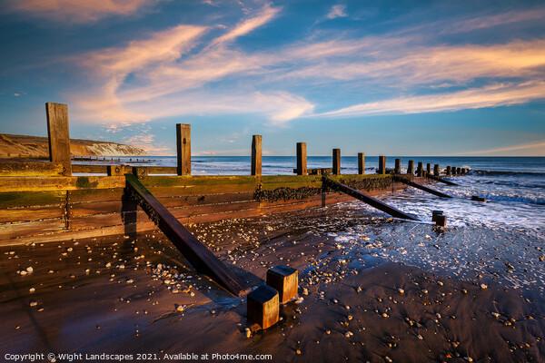 Yaverland Beach Groyne Sandown Isle Of Wight Canvas Print by Wight Landscapes