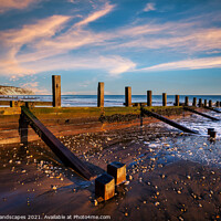 Buy canvas prints of Yaverland Beach Groyne Sandown Isle Of Wight by Wight Landscapes