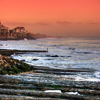 Buy canvas prints of Estoril Portugal The Lone Surfer by Wight Landscapes