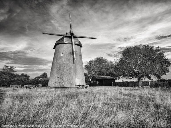 Bembridge Windmill Isle Of Wight BW Canvas Print by Wight Landscapes