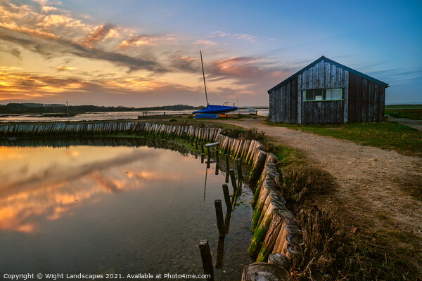 Newtown Boathouse Isle Of Wight Canvas Print by Wight Landscapes