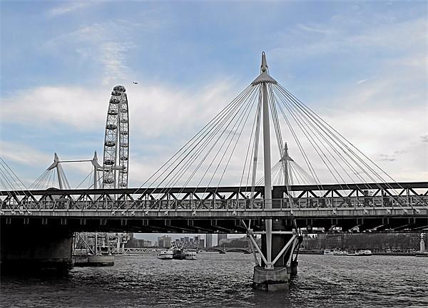 London Hungerford bridge at twilight Print by Jutta Klassen