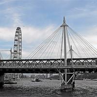 Buy canvas prints of London Hungerford bridge at twilight by Jutta Klassen