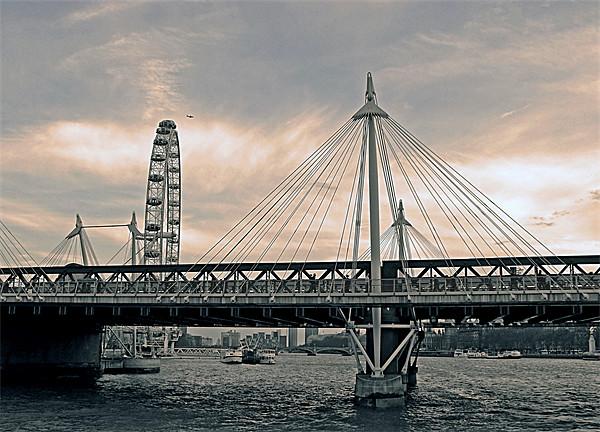 London Hungerford bridge, sepia-grey Print by Jutta Klassen