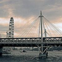 Buy canvas prints of London Hungerford bridge, sepia-grey by Jutta Klassen