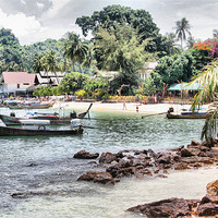 Buy canvas prints of Thailand Fishing Village by HELEN PARKER