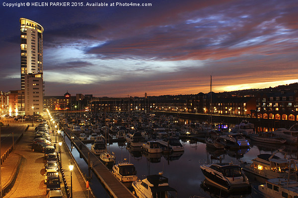 Swansea Marina at sunset. Canvas print by HELEN PARKER