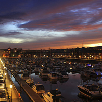 Buy canvas prints of  Swansea Marina at sunset. by HELEN PARKER