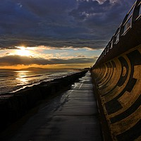 Buy canvas prints of Curved Sea Wall at Aberavon by HELEN PARKER