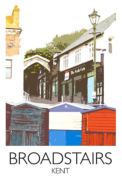 Broadstairs beach huts railway print Canvas print by Karen Paine