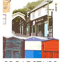 Buy canvas prints of Broadstairs beach huts railway print by Karen Paine