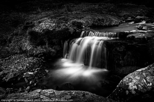 Waterfall Brecon Beacons Black & White Framed Mounted Print by Joel Woodward