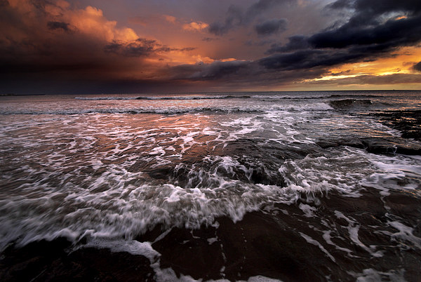 North Sea Sunrise Framed Mounted Print by Dave Hudspeth Landscape Photography