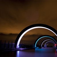 Buy canvas prints of The Falkirk Wheel arches by Ian Potter