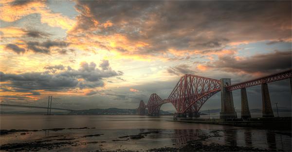 Forth Bridges Sunset Canvas print by Ian Potter