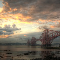 Buy canvas prints of Forth Bridges Sunset by Ian Potter