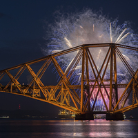 Buy canvas prints of  Forth Rail Bridge Fireworks by Ian Potter