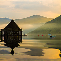 Buy canvas prints of The Loch Tay Crannog by Ian Potter