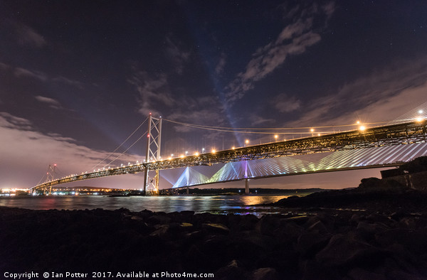 The Queensferry Crossing and the Forth Road Bridge Canvas Print by Ian Potter
