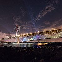 Buy canvas prints of The Queensferry Crossing and the Forth Road Bridge by Ian Potter