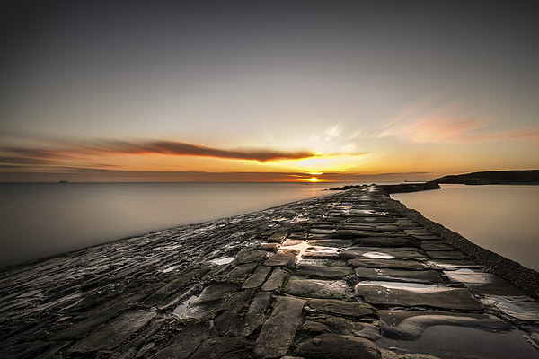 Sunrise over Cullercoats Canvas print by Tom Hibberd