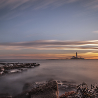 Buy canvas prints of  Sunrise at St Mary's Lighthouse by Tom Hibberd