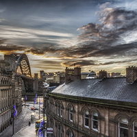 Buy canvas prints of  Sunrise at the Quayside, Newcastle Upon Tyne by Tom Hibberd