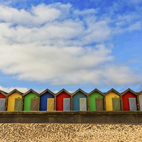 Buy canvas prints of  Beach Huts at Blyth by Tom Hibberd