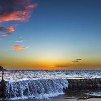 Buy canvas prints of  Gloriuos sunrise over Cullercoats by Tom Hibberd