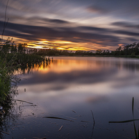 Buy canvas prints of  Sunset across Big Water Lake by Tom Hibberd