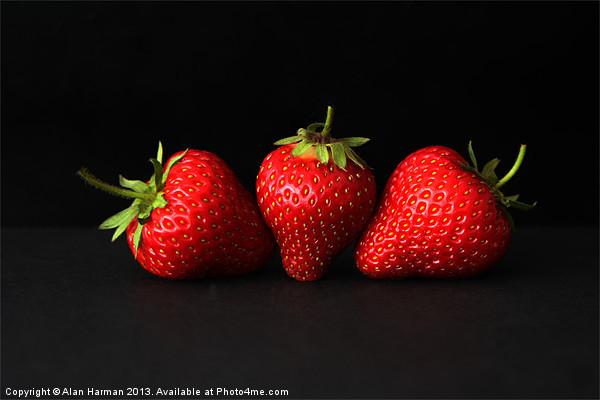 Three Strawberries On Black Canvas Print by Alan Harman