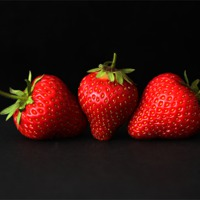 Buy canvas prints of Three Strawberries On Black by Alan Harman