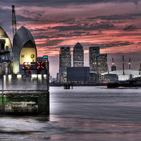 Buy canvas prints of THAMES BARRIER SUNSET by Robert  Radford