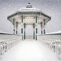 Buy canvas prints of Bandstand in the snow by Terry Busby