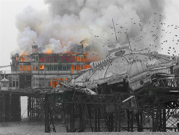West Pier Fire Canvas print by Terry Busby